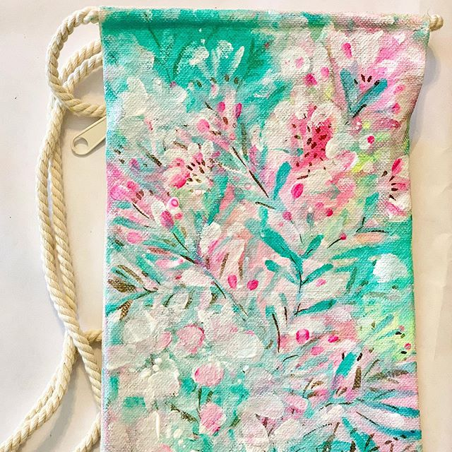 A good surface to paint on...tiny canvas bag from hobby lobby
