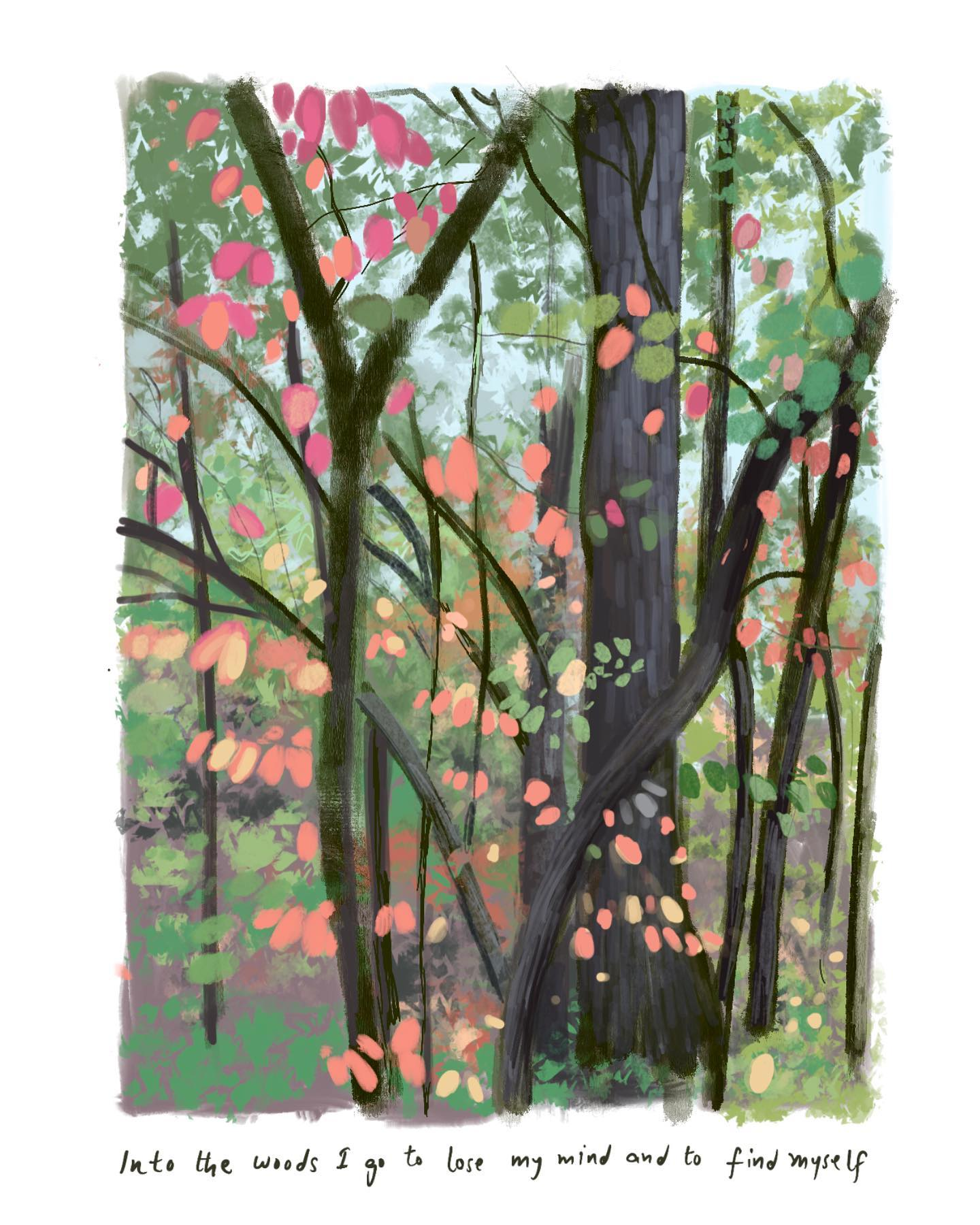 As the trees are transitioning into their most magical best, I can't help but capture them in my digital sketchbook!