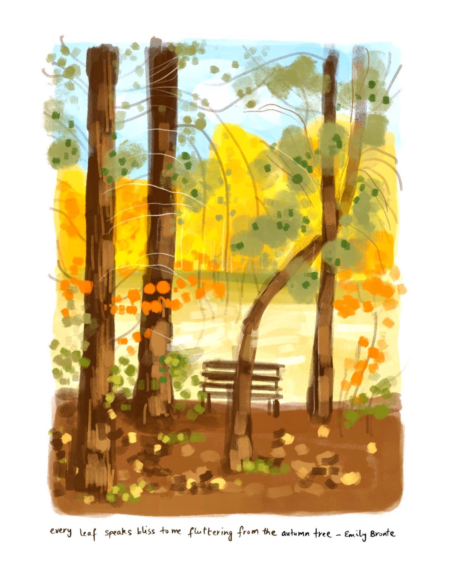 Every leaf speaks bliss to me fluttering from the autumn tree ~ Emily Bronte  I can stand and savor the autumn vibrance and sunshine for hours. A quick abstraction of one such blissful conversation...