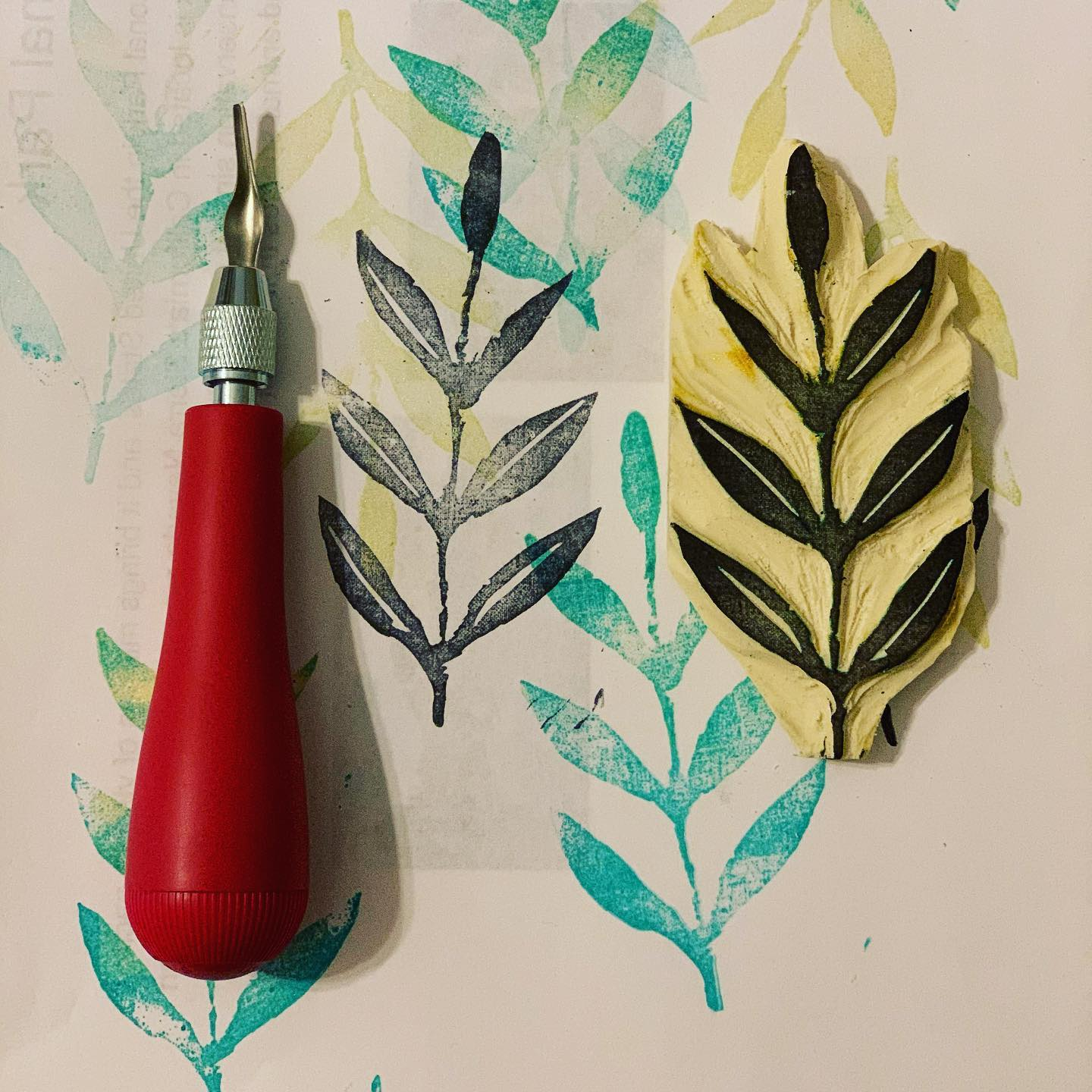 I have always enjoyed stamping in my art journals but never really made my own, here are some leafy impressions...