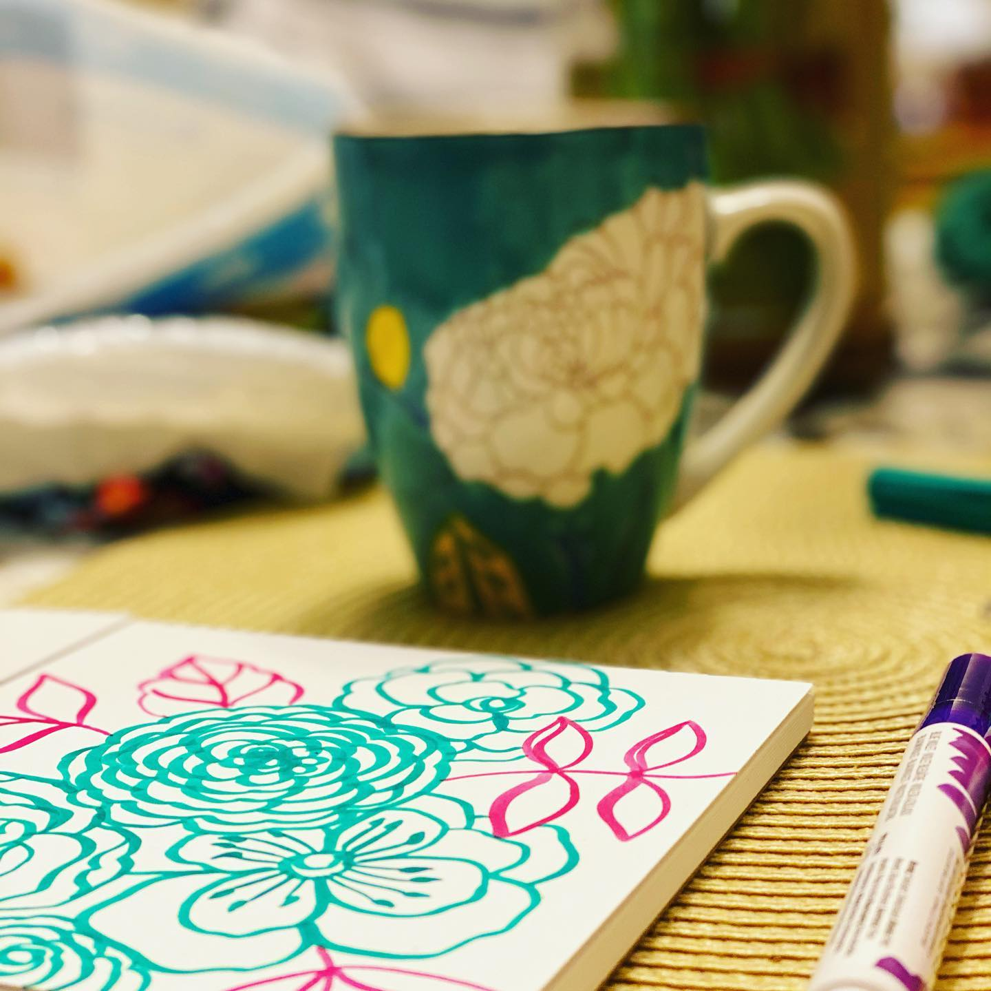 I often end my day with a hot cup of chamomile tea and a few doodles on the side.  How about pink leaves and some green flowers?