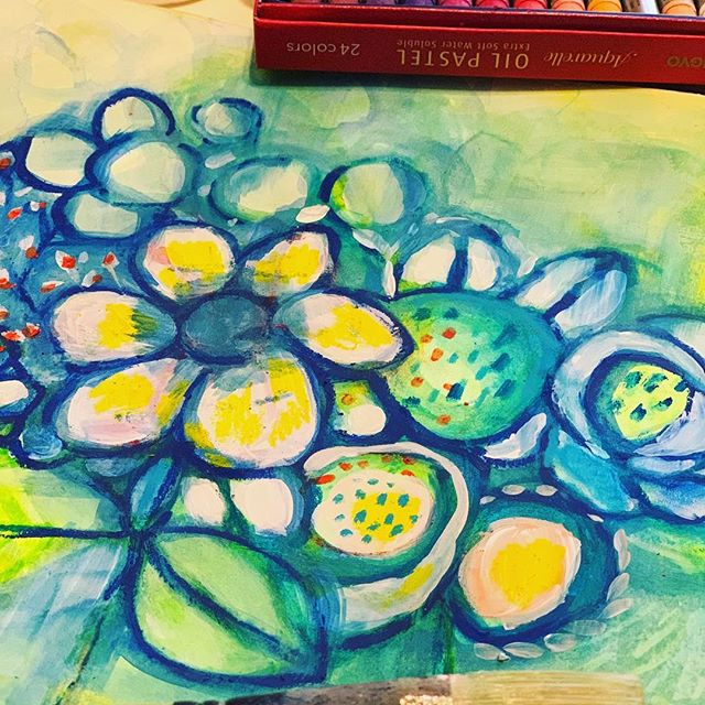 Love the extra soft water soluble oil pastels!! #