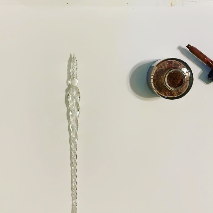 Not sure how long it will last with me, but it's quite a work of art this, glass dip pen!