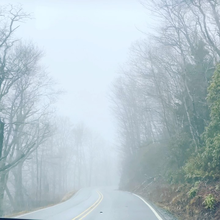 On winding roads of the mountains where everything is dipped in clouds I can only see what's closest to me.  I return to myself.